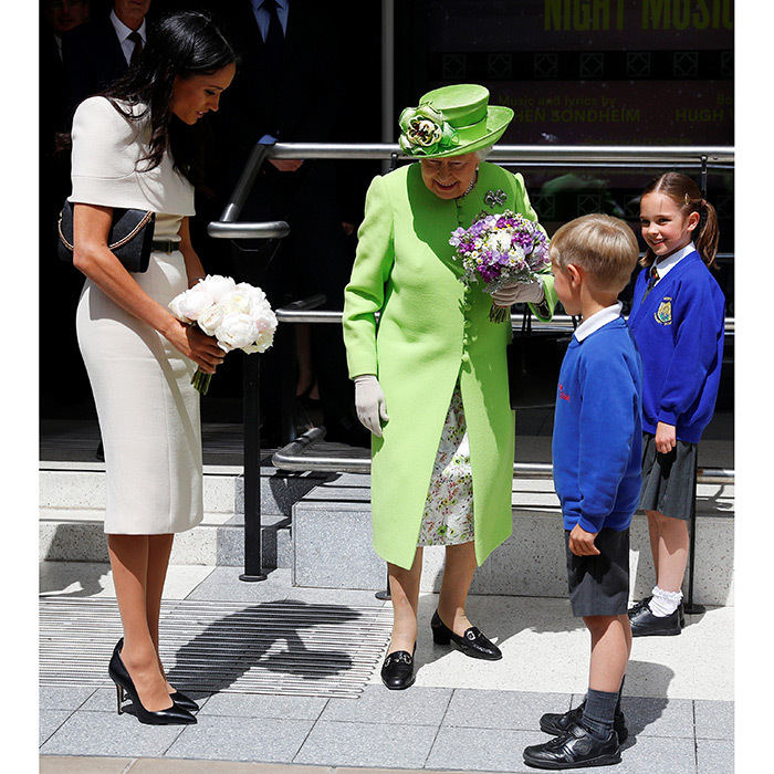 "Two children were lucky to have a chat with the monarch and her new granddaughter outside the Storyhouse. Meghan revealed to the crowds on one of her walkabouts that Prince Harry is the ""best husband ever"" and she's ""really enjoying"" married life!