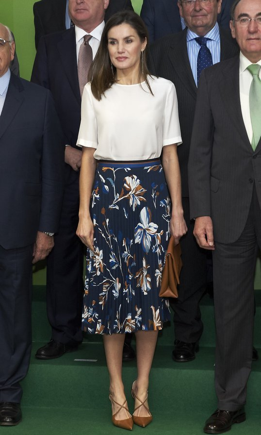 Queen Letizia of Spain recycled a pleated BOSS skirt and silk blouse by Adolfo Dominguez while meeting with Madrid's FAD Foundation Against Drug Addiction on June 12. The royal accessorized with a BOSS leather clutch and Magrit heels the eve before heading to the US with her husband King Felipe.