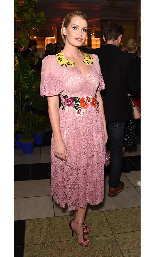A vision in pink lace, Lady Kitty Spencer stepped out to take in the Frida Kahlo: Making Her Self Up exhibition at The V&A on June 13 in London. The Dolce & Gabbana model wore a floral-embellished dress by the brand, which she anchored with metallic pink bejewelled sandals.