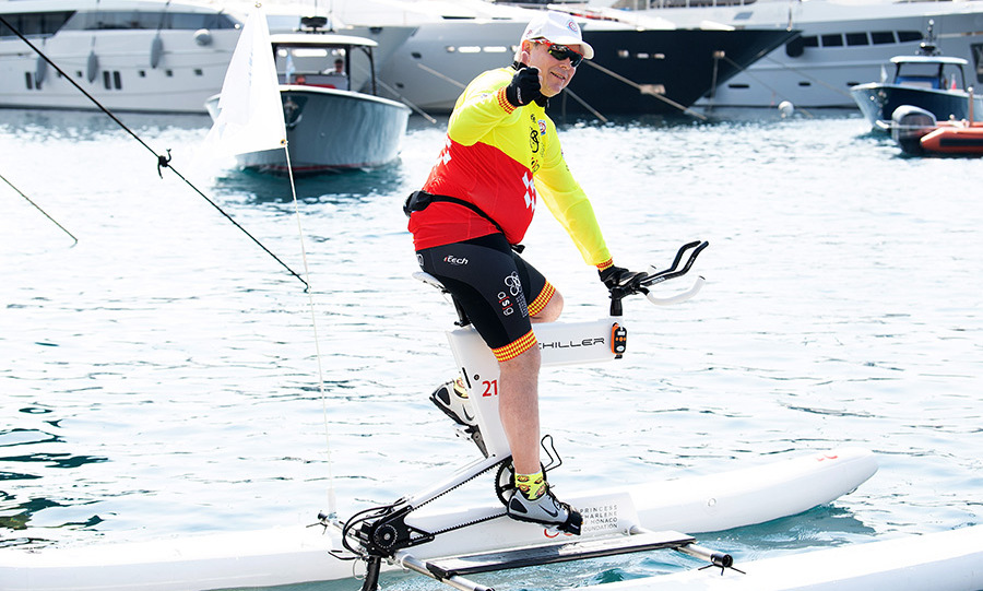 Thumbs up! Prince Albert of Monaco hopped on a water bike at the Riviera Water Bike Challenge on June 17, where his wife Princess Charlene also gave the sport a go. The couple's three-year-old twins were there to cheer them on!
