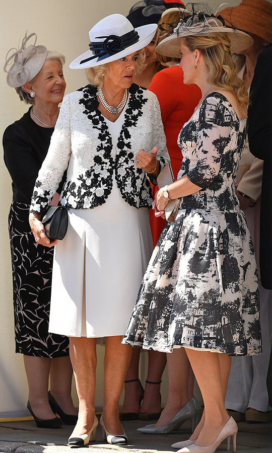 Looking perfectly coordinated in monochrome looks, Camilla, Duchess of Cornwall and Sophie, Countess of Wessex attended the Order of the Garter ceremony on June 18. Camilla wore a while dress with pleating detail and a black-and-white lace jacket along with a two-tone hat and shoes. The Queen's daughter-in-law rocked a stunning black-and-white '50s-style dress with light suede pumps and a matching woven hat with black feathers.