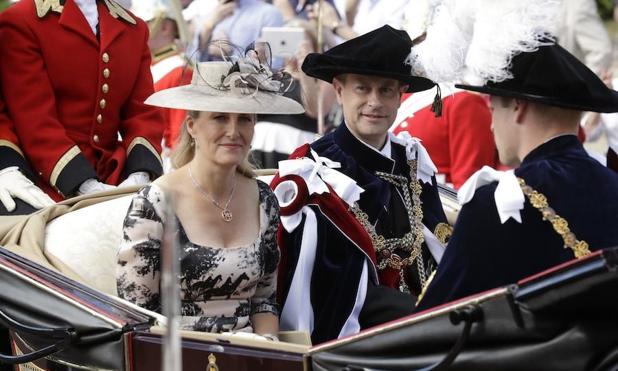 Knight Companions Prince William and Prince Edward, along with Edward's wife the Countess of Wessex, rode in in a carriage together after the Order of The Garter Service at Windsor Castle on June 18.
