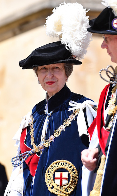 Princess Anne stunned in traditional regalia during the Order of the Garter Ceremony at St. George's Chapel.