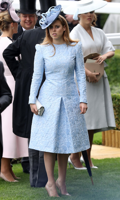 Princess Beatrice stunned in a tailored baby blue dress and matching fascinator for the occasion, which she anchored with nude pumps.