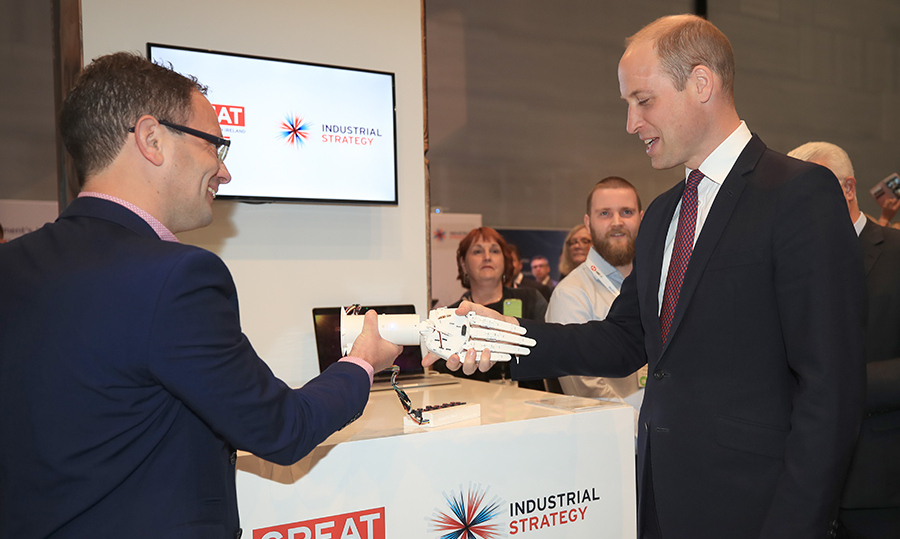 The Duke of Cambridge also got a robotic handshake while checking out new technology at the event in Liverpool.