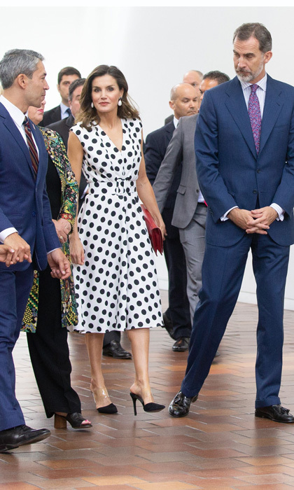 Queen Letizia was spotted in a polka-dot dress by Matilde Cano perfect for any summery occasion. The fashionable royal paired her look with a pair of slingback stilettos.