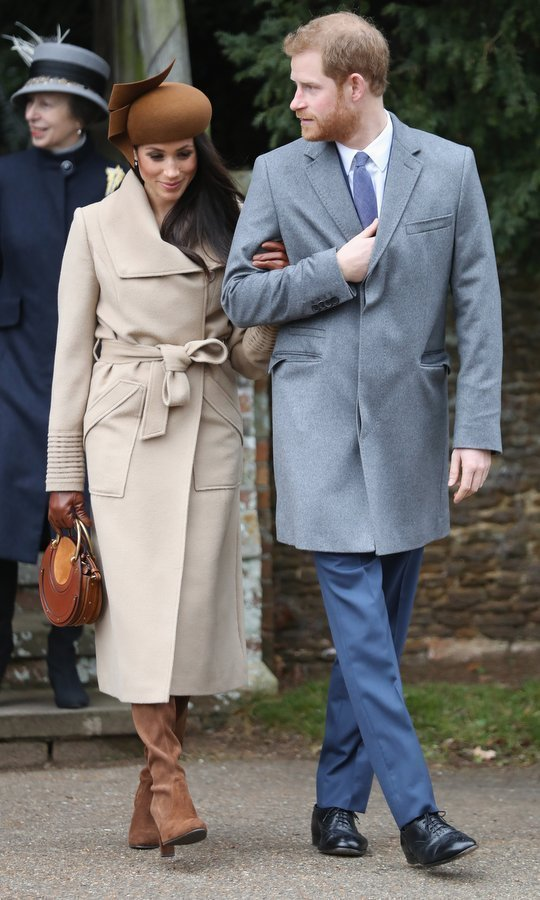 Meghan looked chic as ever for her first holiday season with the British Royal Family. For Christmas Day at Sandringham, Meghan wore a beautiful brown Philip Treacy hat, a camel coat by Sentaler and suede boots.