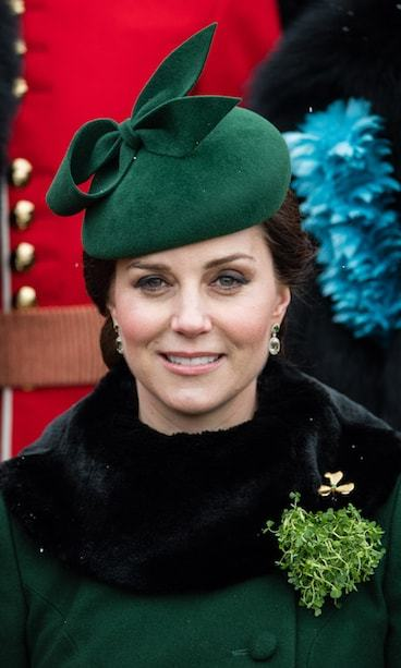 She went with a green cap to match her outfit for the annual Irish Guards St Patrick's Day Parade at Cavalry Barracks on March 17.