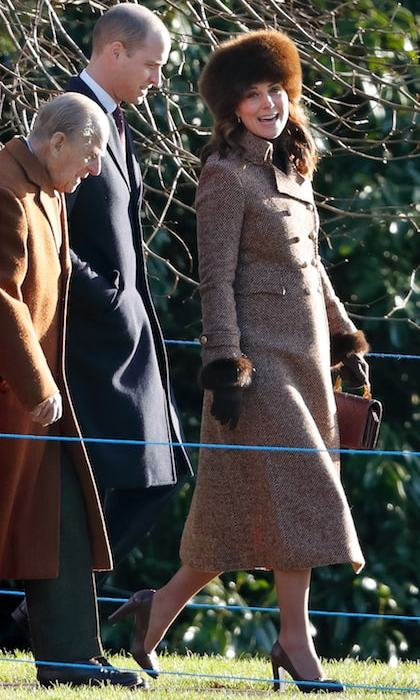 Kate joined Prince Philip and Prince William for the Sunday service at St Mary Magdalene Church on January 7, wearing a brown fur hat for the occasion.