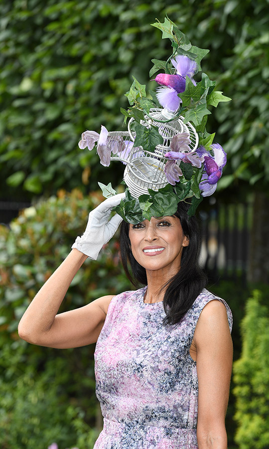Racegoer <strong>Jackie St Clair</strong> was ready to take flight with her bird-themed headpiece, complete with a bird cage and ivy vines.