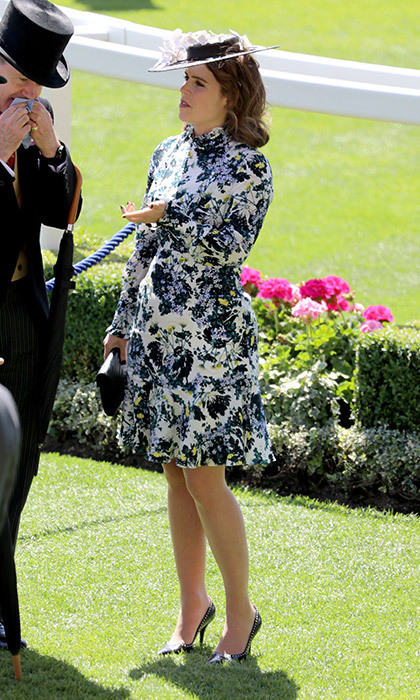 Princess Eugenie, who will walk down the aisle in October at her wedding to Jack Brooksbank, chose a floral-printed dress by Canadian-bred designer Erdem for her second appearance at the races. She topped the look off Sally-Ann Provan boater hat.