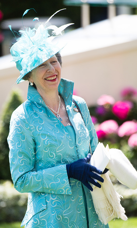 Decked out in one of her mother's favourite hues, a bold blue, Princess Anne was all smiles on the third day of Royal Ascot.