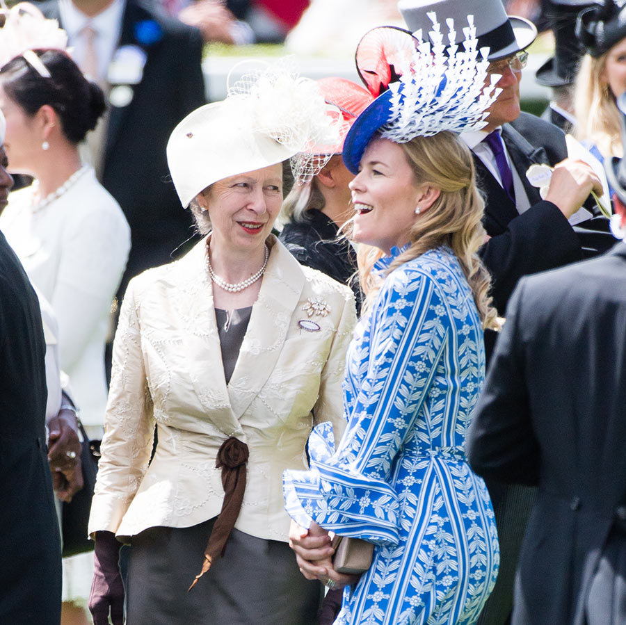 Princess Anne and her daughter-in-law Autumn Phillips shared a laugh at the races.