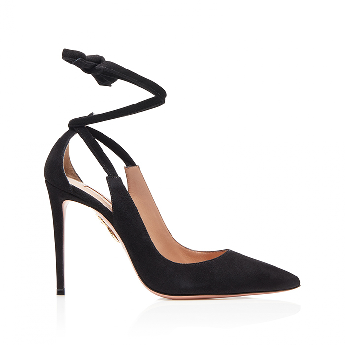 "<strong>Milano Pump 105, $825, <a href=""https://www.aquazzura.com/en/boutique-online/woman/view-all/pumps/pointy-toe/milano-pump-105-black-suede-leather.html""><em>aquazzura.com</em></a></strong>"