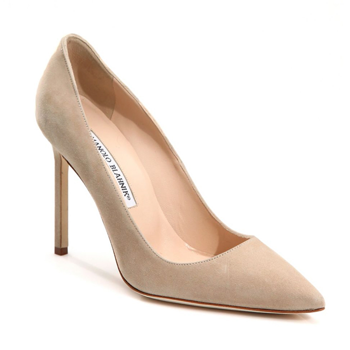 "<strong>Manolo Blahnik BB 105 Suede Point Toe Pumps, $745, <a href=""https://www.saksfifthavenue.com/main/ProductDetail.jsp?PRODUCT%3C%3Eprd_id=845524446412984&clickType=PRODUCT_RECOMMENDATIONS""><em>saks.com</em></a></strong>"