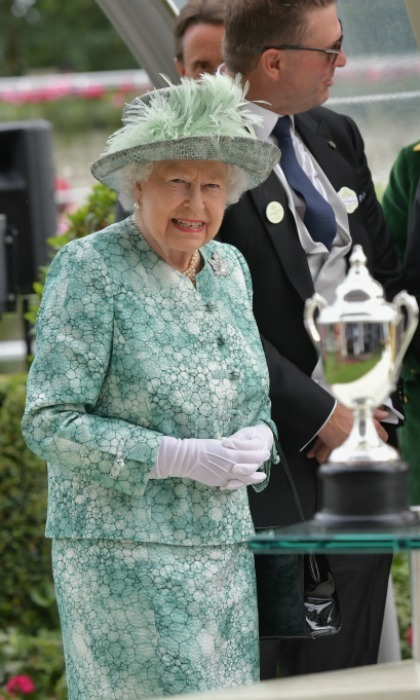 <p>Trophy Queen! Her majesty was on hand to present the Diamond Jubilee Stakes at the Royal Ascot at Ascot Racecourse on June 23. Elizabeth looked lovely in an aqua number.