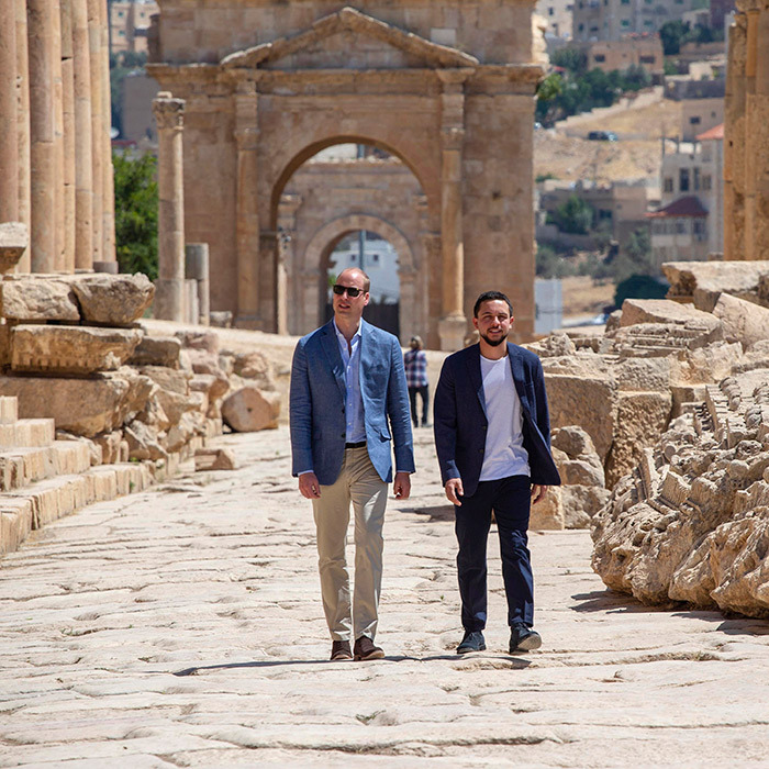 "The Duke of Cambridge joined Crown Prince Hussein of Jordan on a visit to the Jerash archaeological site in Amman. While chatting with the chief executive of Save the Children, Rania Malki, William said of his wife, ""She loved it here, she really did. She is very upset that I am coming here without her.""