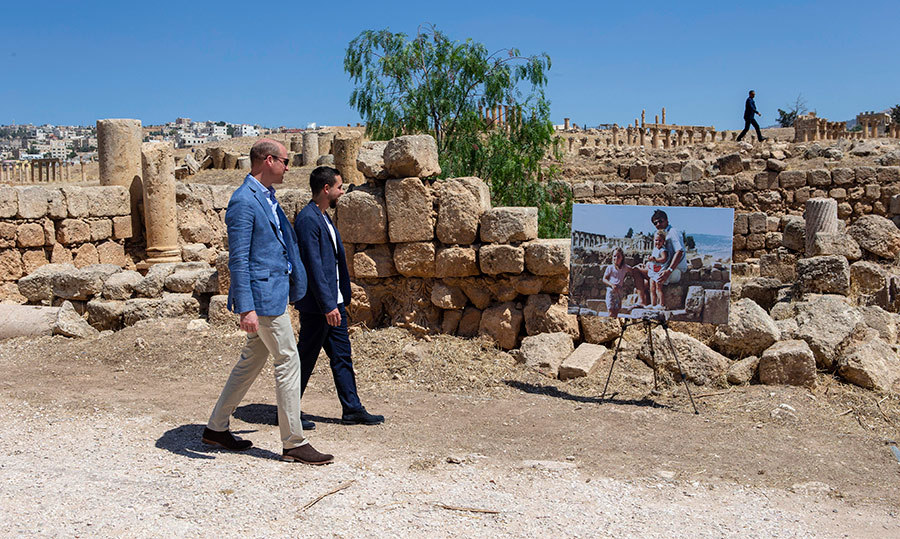 "While touring the Roman ruins at Jerash, Prince William and Crown Prince Hussein walked past an enlarged photo of the Duchess of Cambridge in her youth with her sister Pippa and father Michael. The Middleton family lived in Jordan when Kate and Pippa were children, and the Duke was keen to recreate the pose, climbing onto the rocks for a photo before joking: ""Need to come back with the family for this shot"" and saying that his father-in-law was ""looking very smart in his flip-flops.""