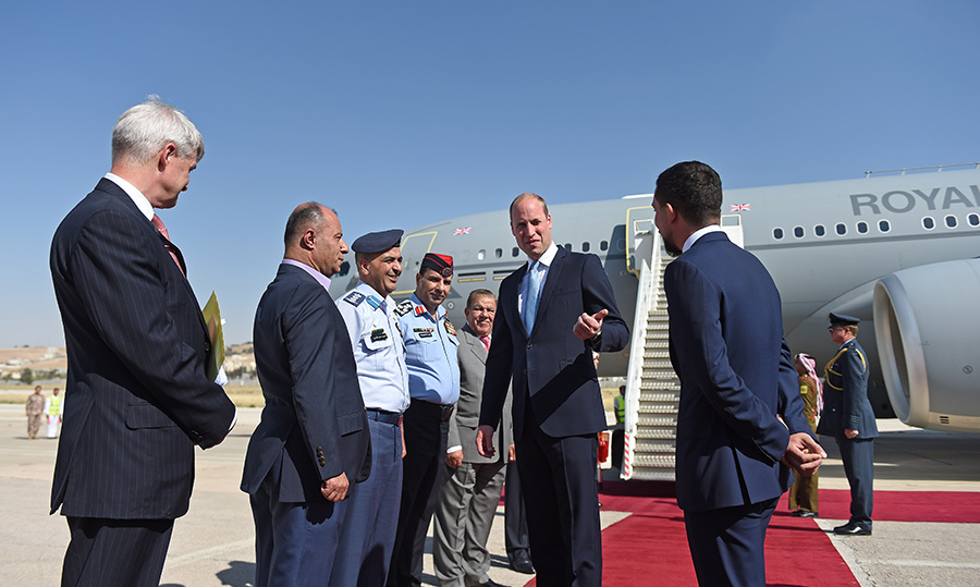 Prince William made his grand arrival in the Jordanian capital of Amman, at the Marka Airport, and was greeted by Crown Prince Hussein, 23. This marked the beginning of the Duke's tour of the Middle East on June 24.