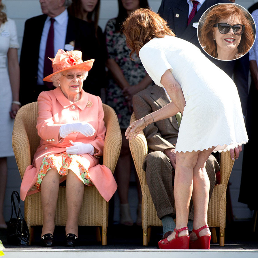 Clad in a white dress with zig-zag edges and red platform shoes, actress Susan Sarandon greeted the Queen during the Royal Windsor Polo Cup on June 24, 2018. The Queen, who looked beautiful in a peach ensemble, was all smiles as she shook the <em>Thelma & Louise</em> icon's hand.