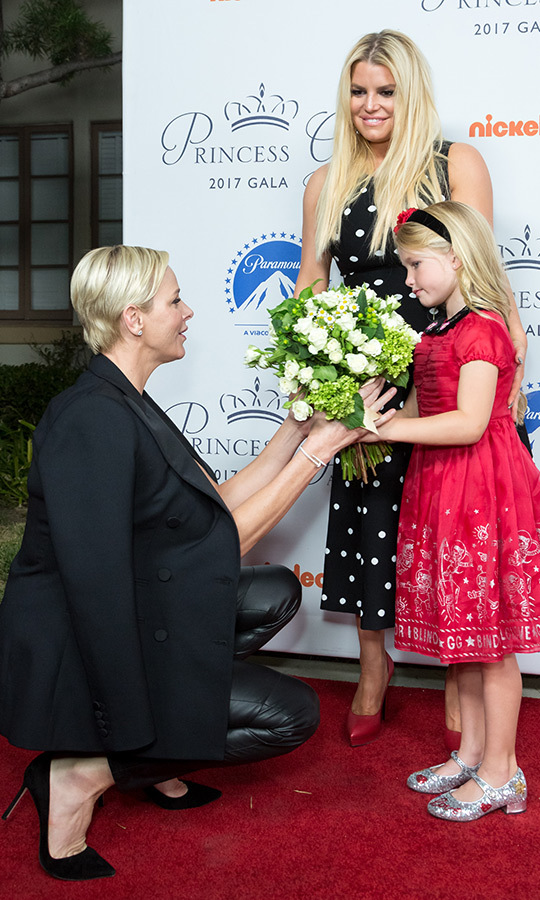 Dream welcome committee! Princess Charlene received a very special bouquet from Jessica Simpson's five-year-old daughter Maxwell in October 2018, when the Monegasque royal arrived at the 2017 Princess Grace Awards Gala Kick Off Event at Paramount Pictures in Los Angeles.