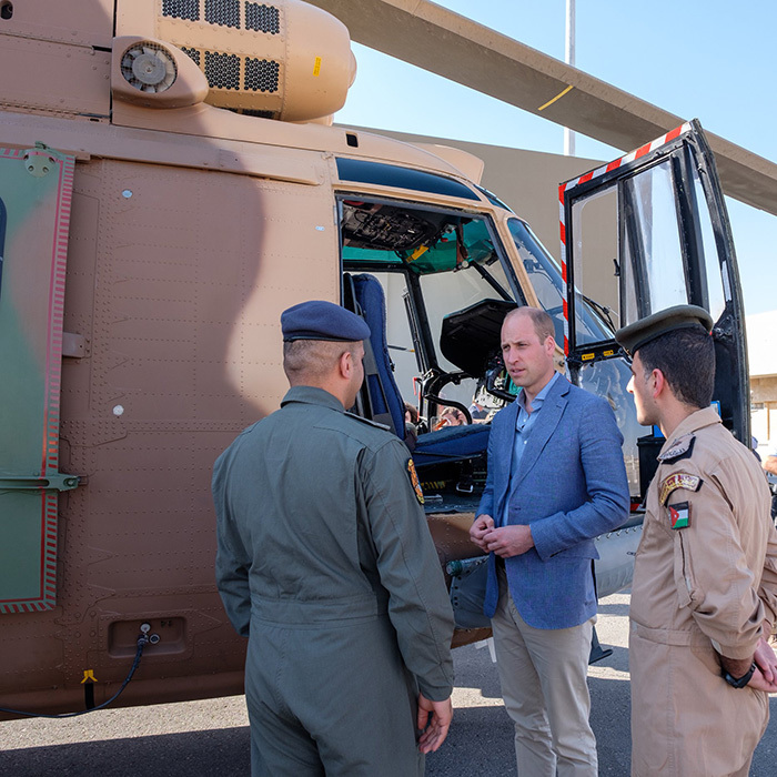 The Duke of Cambridge inspected a civilian air ambulance and a military medevac helicopter just before leaving Jordan and flying into Israel.
