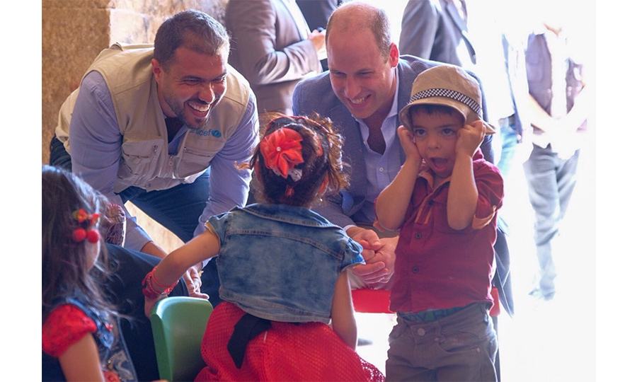 in Jerash, William learned about UNICEF Jordan's Makani program, which offers support for parents and children who are Syrian refugees. The doting dad, who was surely missing Prince George, Princess Charlotte and Prince Louis, joked around  with the program's adorable participants.