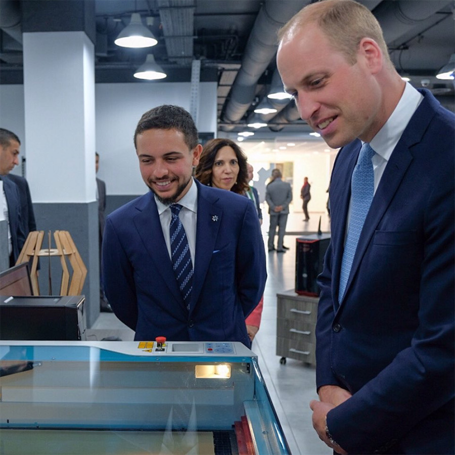 On his first day in Jordan, Prince Hussein showed Prince William around the TechWorks Fabrication Lab (FabLab) at the King Hussein Business Park, where he used a laser cutter to create a special crest for his beloved Aston Villa soccer team!