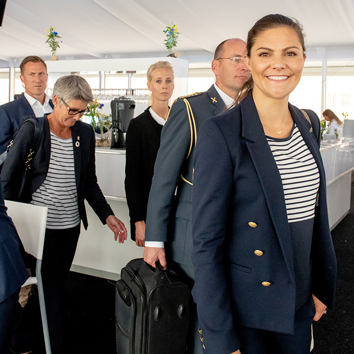 Crown Princess Victoria stunned in a nautical-themed outfit during the Volvo Ocean Summit on June 18.