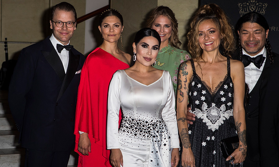 Prince Daniel, Crown Princess Victoria, Aryana Sayeed, Princess Madeleine, Chloe Trujillo and Robert Trujillo stopped for a glamorous photo together at the 2018 Polar Music Prize award ceremony at the Grand Hotel on June 14.