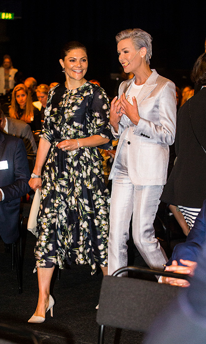 Crown Princess Victoria and Dr. Gunhild Stordalen arrived together at the the EAT Stockholm Food Forum on June 11.