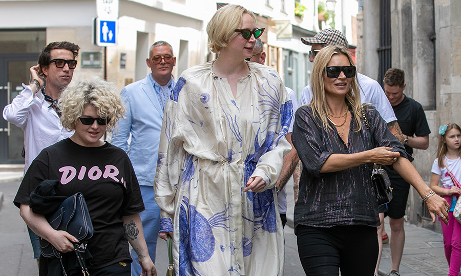 Nick Grimshaw, Kelly Osbourne, Giles Deacon, actress Gwendoline Christie and supermodel Kate Moss were spotted owning the streets of Paris on June 24. The crew were on their way to the Dior Homme show!