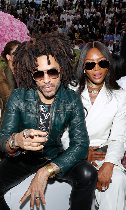 Lenny Kravitz and Naomi Campbell were front row and centre for the Dior Homme Menswear Spring/Summer 2019 show on June 23 in Paris.