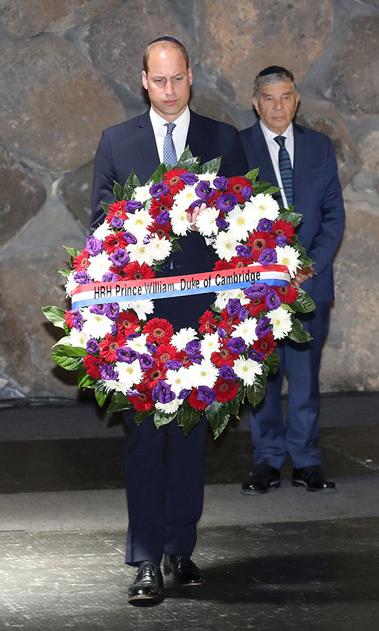 While on a visit to Jerusalem's Yad Vashem Holocaust Remembrace Center, the Duke of Cambridge honoured those lost with a wreath that bore his name.