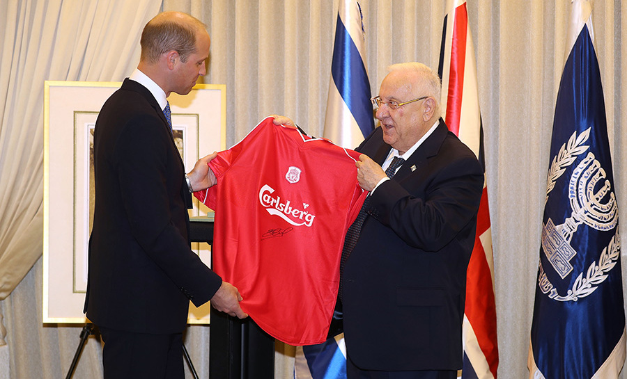 The Duke also had the opportunity to meet with Israeli President Reuven Rivlin, when he gifted him with a Liverpool FC shirt, signed by former player Steven Gerrard on June 26.