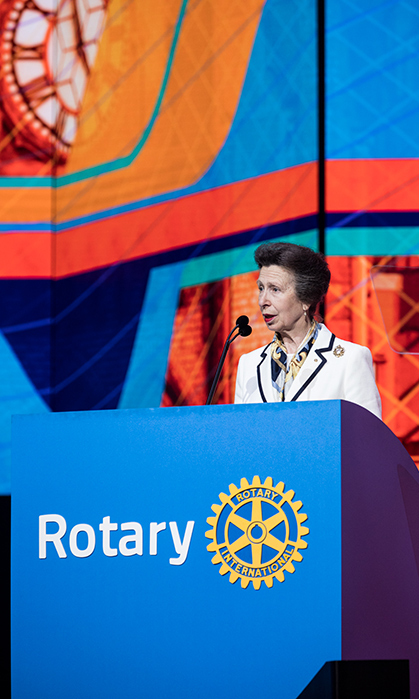 Princess Anne made a whirlwind trip to Toronto on June 25. The royal was on an official visit to Rotary International's International Convention at the Air Canada Centre, where she opened proceedings as an honorary member of the Rotary Club of Elgin.