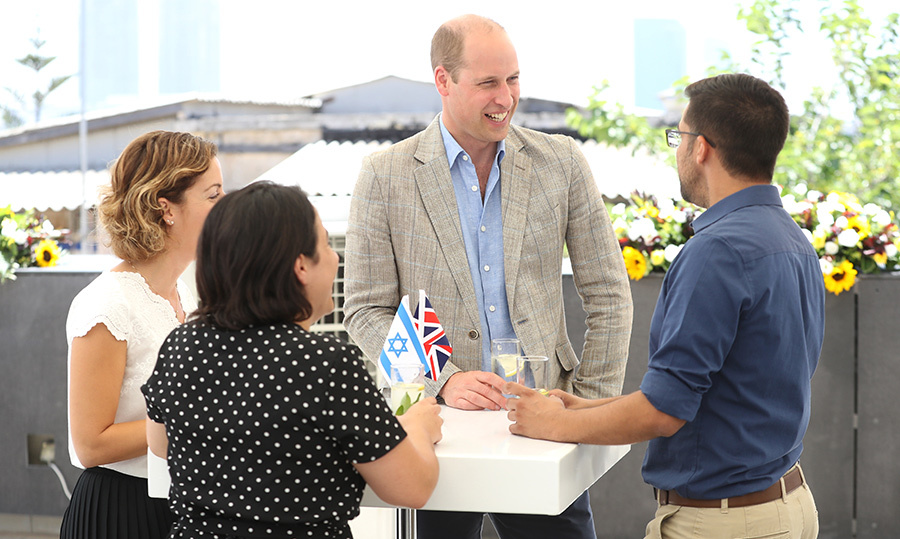 William appeared to be in high spirits as he chatted with young people at the civil society reception at Beit Ha'ir Museum.