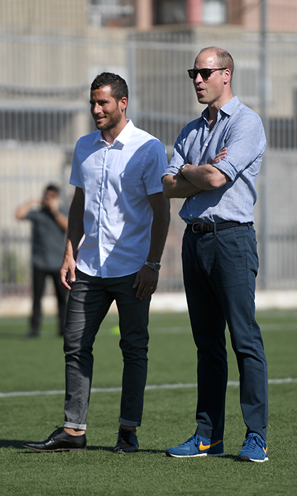 The Duke and soccer player Tomer Hemed watched the kids play during the session.