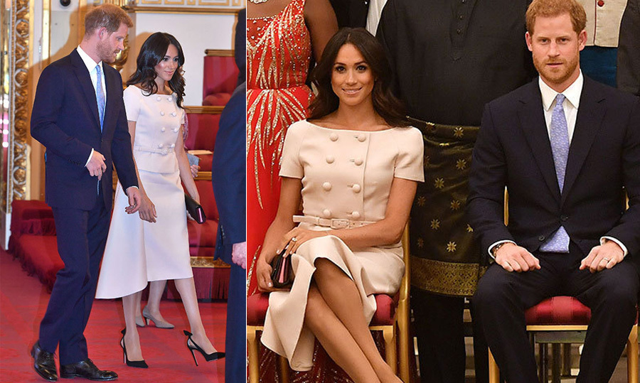 The Duchess was pretty in Prada for her hosting duties with the Queen on June 26! Meghan absolutely glowed in a beautiful blush-pink ensemble by the luxury brand, reminiscent of her off-the-shoulder number on the Queen's birthday just a few weeks before. The former actress paired her look with a simple black clutch and beautiful sling back heels, along with a gorgeous blow out and bronzed makeup.