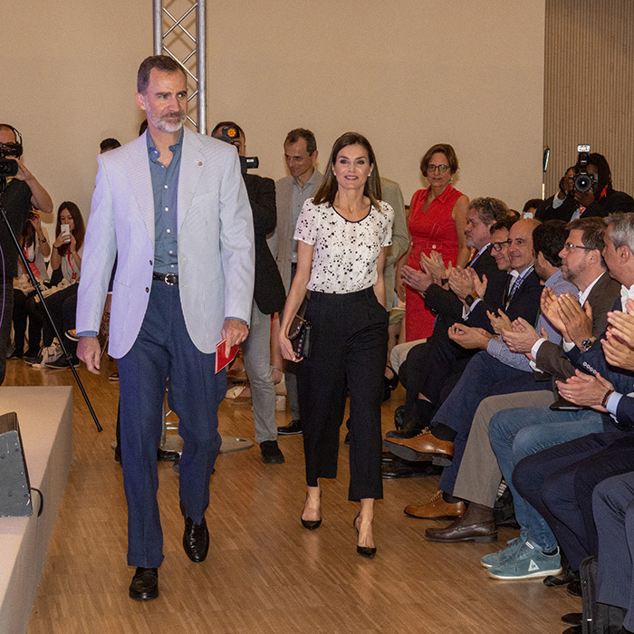 Felipe and Letizia of Spain attended the Rescatadores de Talento conference at the Hotel Camiral on June 29.