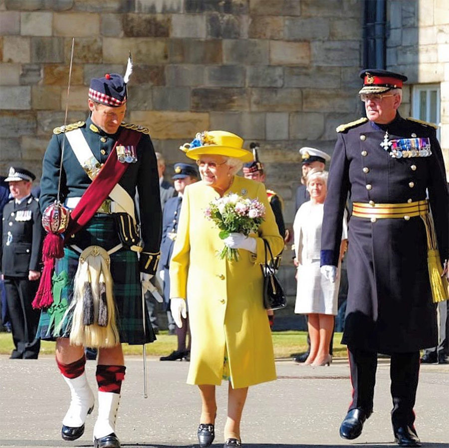 On July 2, the Queen turned up in Edinburgh following a cancelled engagement the week prior due to a summer cold. She donned a sunny ensemble on the first day of Holyrood Week, where she was welcomed to the Palace of Holyroodhouse ahead of the traditional 'Ceremony of the Keys.' Her Majesty paired her yellow coat with a matching hat featuring blue flowers and white gloves.