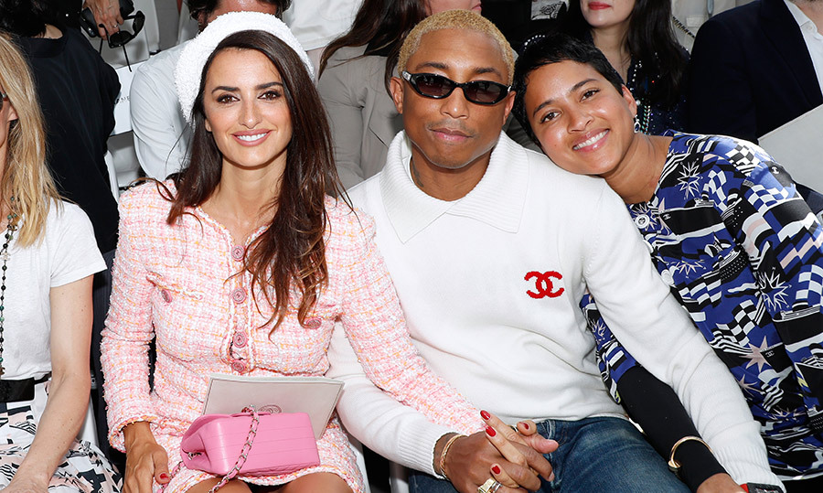 Penelope Cruz, Pharrell Williams and his wife Helen Lasichanh sat front row at the Chanel Haute Couture show on July 3. 