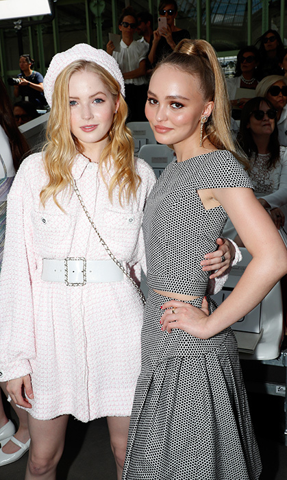 British actress Ellie Bamber and Johnny Depp's daughter Lily-Rose stopped for a fierce photo at the Chanel show.