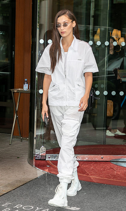 Supermodel Bella Hadid was spotted on the streets of Paris in an all-white ensemble on June 29.