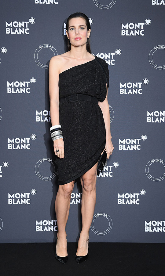 For a hosting gig at a dinner celebrating Montblanc's latest collection, Grace Kelly's granddaughter slipped into a one-shoulder Saint Laurent dress and black pumps. Naturally, she accessorized with a stack of Montblanc pieces. 
