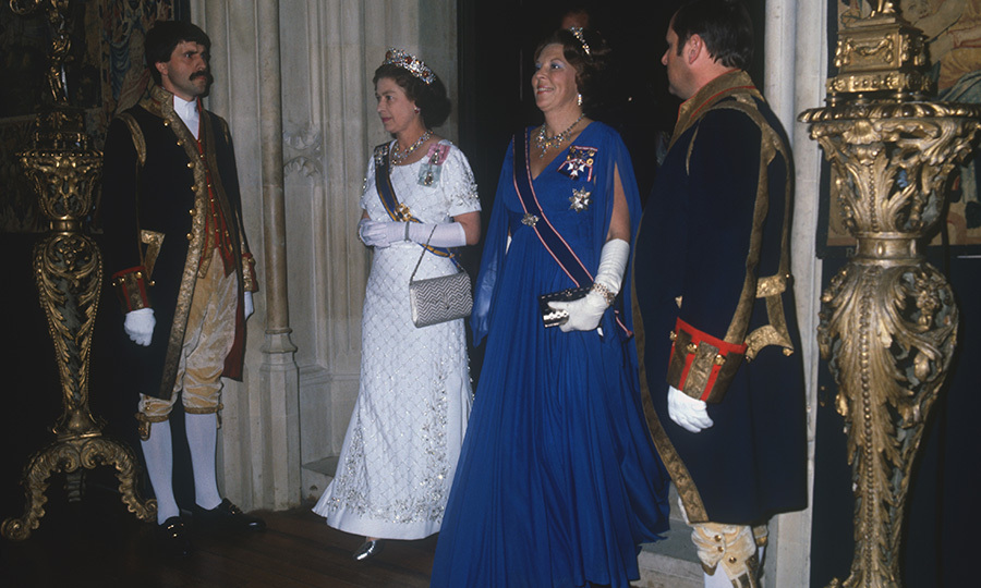 Queen Elizabeth II and Queen Beatrix arrived at Hampton Court Palace in Nov. 1982 for a banquet during the last  state visit to the UK by Dutch royals.
