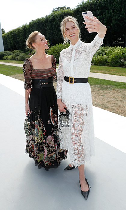 It was selfie time for Kate Bosworth and Karlie Kloss before the Christian Dior show!