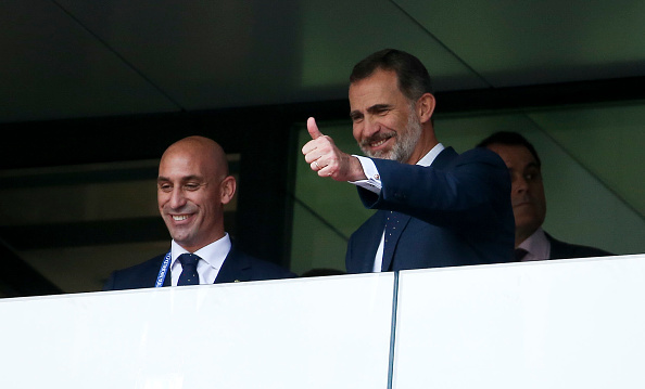 King Felipe of Spain gave a thumbs up for football! The royal joined the President of the Spanish Football Federation, Luis Rubiales, during the 2018 FIFA World Cup Russia. The match was between Spain and Russia at Luzhniki Stadium on July 1.