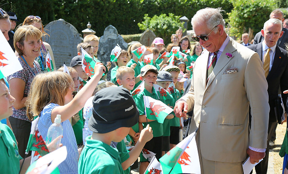 Prince Charles greeted some kids at St. Gwenog's Church during his visit to Wales with Camilla.