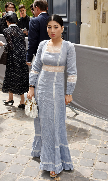 Sirivannavari stunned in ornate baby blue and lace perfection for the Christian Dior Haute Couture show.